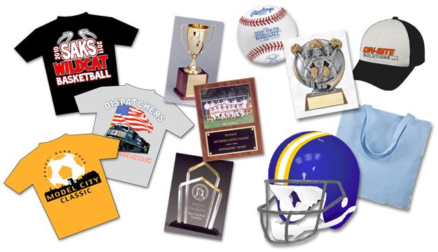 team uniforms, screenprint, trophies, embroidery